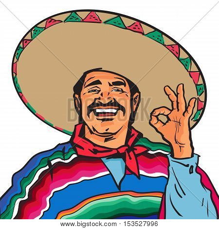 Half length portrait of smiling Mexican man in sombrero and poncho showing okey sign, sketch vector illustration isolated on white background. Colorful drawing of Mexican man in traditional clothes
