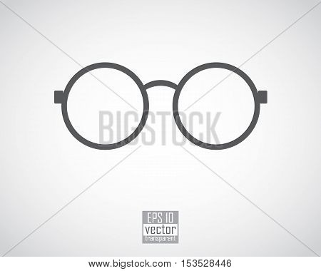 round glasses in thin black frames on the white background