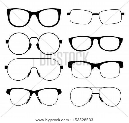 set of eight glasses in a different shape thin black frame