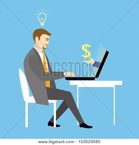 Man Working On laptop Computer.Businessman with finance idea. Vector illustration