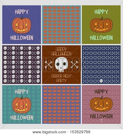 Set of halloween greeting cards and spooky skull and cross bones pattern bacgrounds