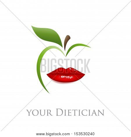 Vector sign diet dietician. Mouth and green apple