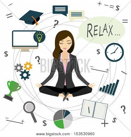 Office worker or business woman relaxes after workon white background cartoon vector illustration