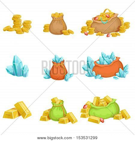 Treasure And Riches Set OF Game Design Elements. Cute Cartoon Style Illustrations With Gold, Jewels And Gems Isolated On White Background.