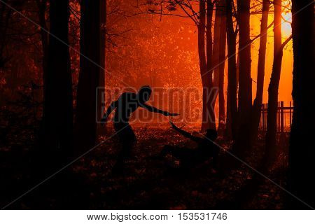 Murder in the park. Maniac kills his victim in the night deserted park. Silhouettes in night foggy forest poster