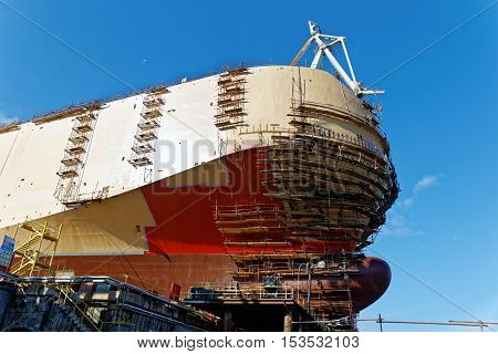 ship construct on slipway in shipyard, side view