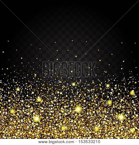 Effect of flying from the bottom of the gold luster luxury design rich background. Dark background. Stardust spark the explosion on a transparent background. Luxury golden texture.