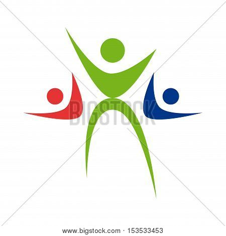 Vector sign Happy family. Childhood solidarity isolated ilustration