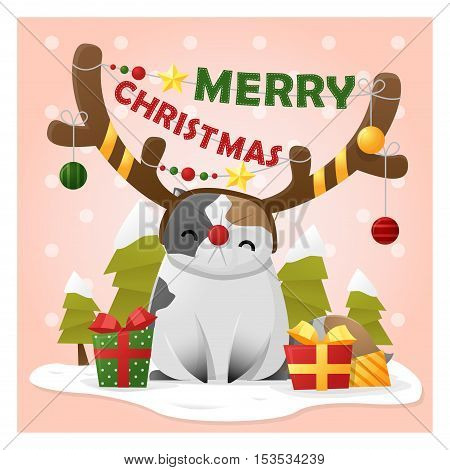 Merry Christmas Greeting Card with cat wearing reindeer costume , vector , illustration