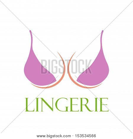 Vector sign pink bra lingerie, isolated logo