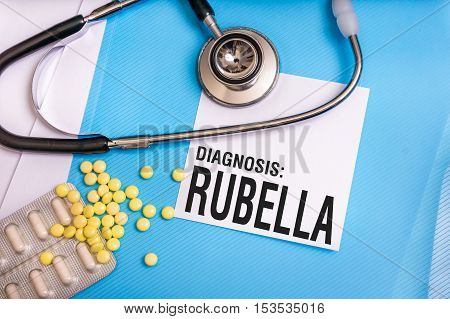 Rubella Word Written On Medical Blue Folder With Patient Files