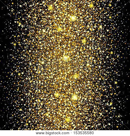 Effect of flying through the middle of the gold luster luxury design rich background. Dark background. Stardust spark the explosion on a transparent background. Luxury golden texture