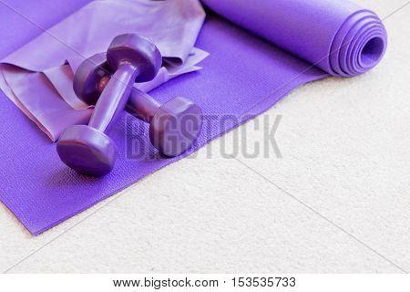 Fitness Yoga Pilates Equipment Props On Carpet