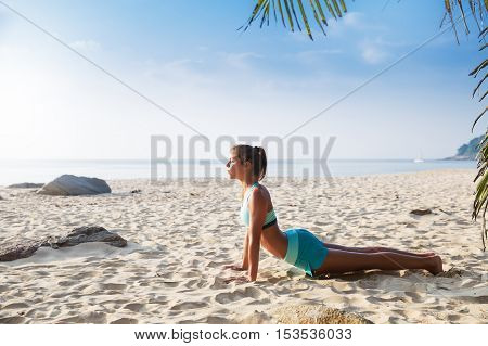 Young Pretty Slim Brunette Woman Practise Yoga Pose Tropical Beach