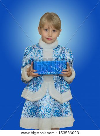 Beautiful Little Girl In Suit Snow Maiden.