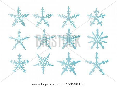 vector - set of snowflakes  isolated on background