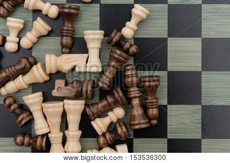 top view chess board with chess pieces