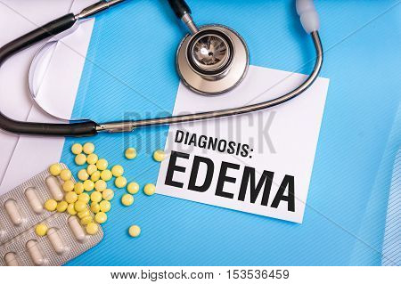 Edema Word Written On Medical Blue Folder With Patient Files