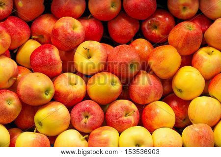 Lots of bright apples in supermarket. Close-up view