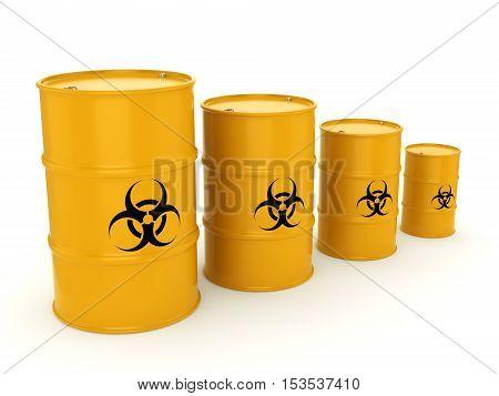 3D Rendering Biohazard Barrels