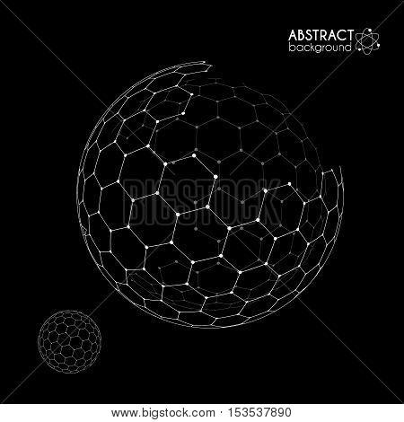 Vector hexagonal grid broken sphere planet model isolated on black background