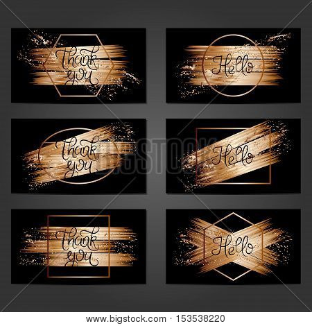 Collection of 6 vintage card templates with copper brushstrokes on black background. For the wedding marriage save the date cards invitations greetings. Grunge retro design with copper paint.