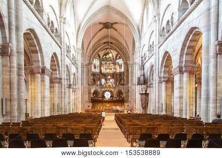 October 24, 2016: Interior view of the Basel Minster