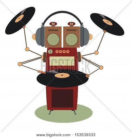 Funny jukebox music concept. Jukebox cartoon illustration