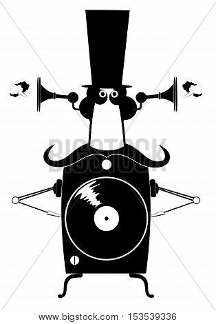 Funny cartoon jukebox. Jukebox cartoon with high hat and mustache