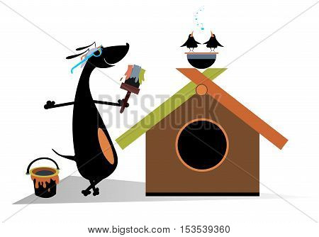 Dog paints a house. Cartoon dachshund is painting a kennel