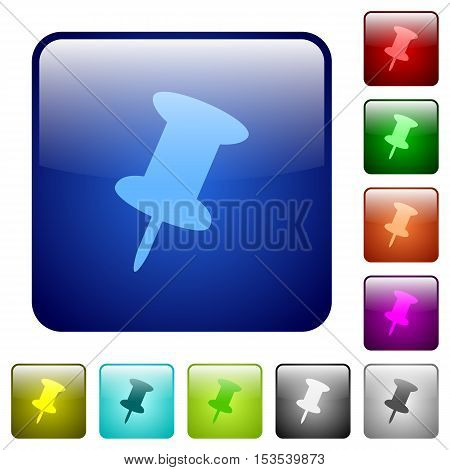 Push pin color glass rounded square button set