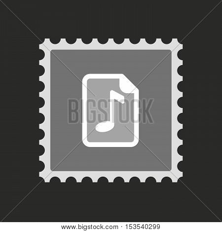 Isolated Mail Stamp Icon With  A Music Score Icon
