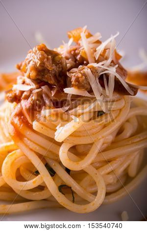 Detail Of Minced Meat On Spaghetti Portion