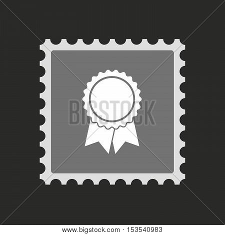 Isolated Mail Stamp Icon With  A Ribbon Award