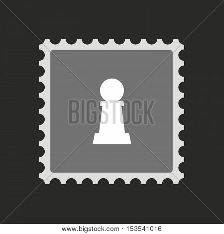 Isolated Mail Stamp Icon With A  Pawn Chess Figure