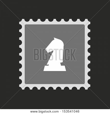 Isolated Mail Stamp Icon With A  Knight   Chess Figure