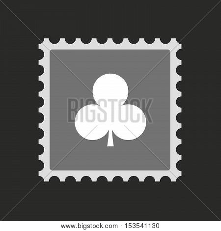Isolated Mail Stamp Icon With  The  Club  Poker Playing Card Sign