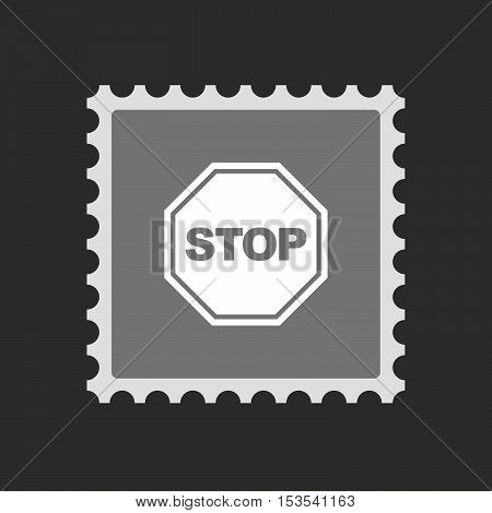 Isolated Mail Stamp Icon With  A Stop Signal