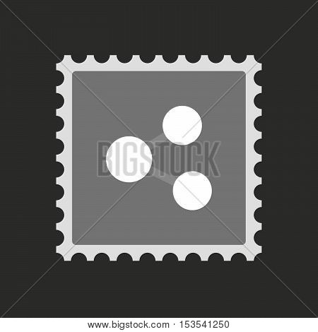 Isolated Mail Stamp Icon With  A Network Sign