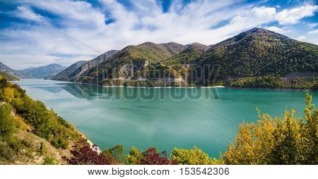 Aragvi River and reservoir in Georgia, Europe.