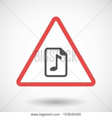 Isolated Warning Sign Icon With  A Music Score Icon