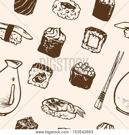 Vector Seamless pattern Sushi rolls and japanese seafood l with salmon, smoked eel, selective food vector. Asia cuisine restaurant delicious. Illustration for menus, recipes and packages product