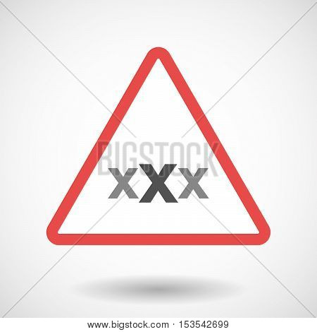 Isolated Warning Sign Icon With  A Xxx Letter Icon