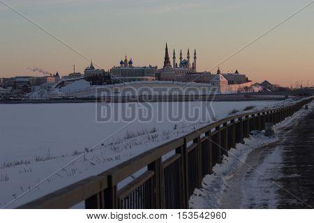 View on ancient city kazan kremlin winter