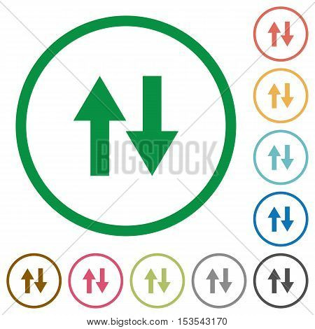 Data traffic flat color icons in round outlines