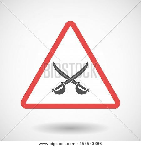 Isolated Warning Sign Icon With  Two Swords Crossed