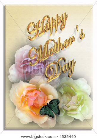 Mothers Day Card With Roses And Butterfly