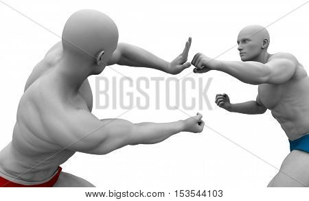 Self Defence or Self Defense Techniques in a Fight 3d Illustration Render