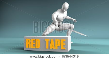 Cutting Red Tape and Cut or Reduce Concept 3d Illustration Render