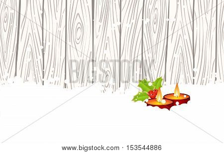 Christmas candles in snow on wood fence background. Vector illustration